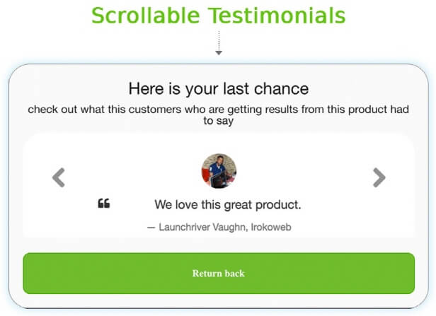 3. Scrollable Testimonials visitors